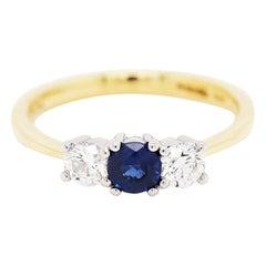 Sapphire and Diamond Three-Stone 18 Carat Gold and Platinum Engagement Ring