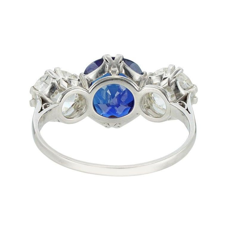 Brilliant Cut Sapphire and Diamond Three-Stone Ring For Sale