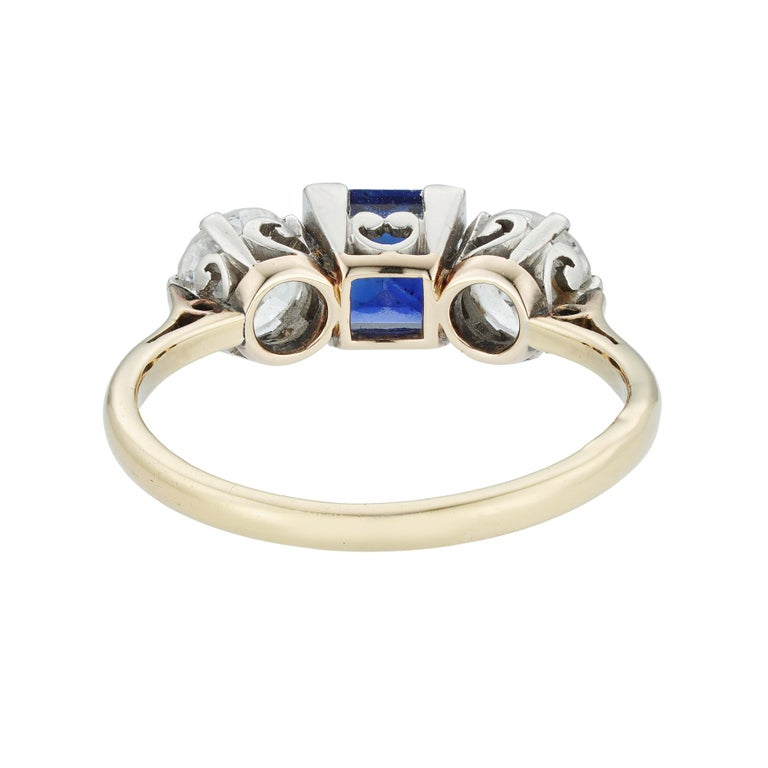 Modern Sapphire and Diamond Three-Stone Ring For Sale