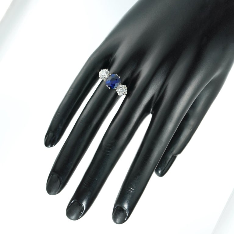 Women's or Men's Sapphire and Diamond Three-Stone Ring For Sale