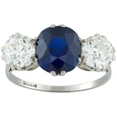 Sapphire and Diamond Three-Stone Ring