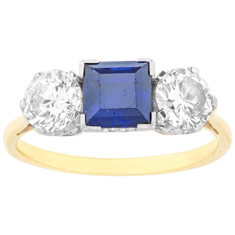 Sapphire and Diamond Three-Stone Ring For Sale