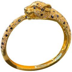 Sapphire and Diamond Tiger Bangle Bracelet