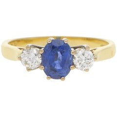 Sapphire and Diamond Trilogy Engagement Ring Set in18 Karat Yellow Gold