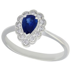 Sapphire and Diamond White Gold Cocktail Ring