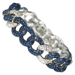 Sapphire and Diamond White Gold Curb Link Bracelet