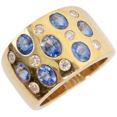 Sapphire and Diamond Wide Gold Band Ring