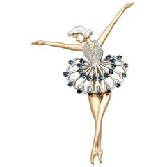 Sapphire and Diamond Yellow Gold Ballerina Brooch