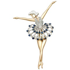 Sapphire and Diamond Yellow Gold Ballerina Brooch