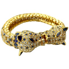 Sapphire and Diamond Yellow Gold Cheetah Bracelet