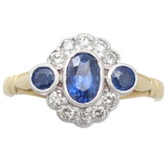 Sapphire and Diamond Yellow Gold Cocktail Ring