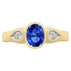 Sapphire and Diamond Yellow Gold Dress Ring