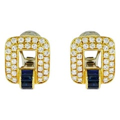 Sapphire and Diamond Yellow Gold Earrings