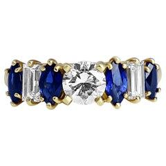 Sapphire and Diamond Yellow Gold Ring