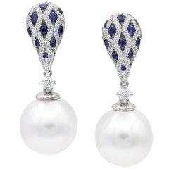 South Sea Pearl Sapphire Diamond Drop Earrings 1.28 Carats 18K