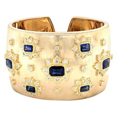 Sapphire and Diamonds Cuff Bangle 18 Karat Gold
