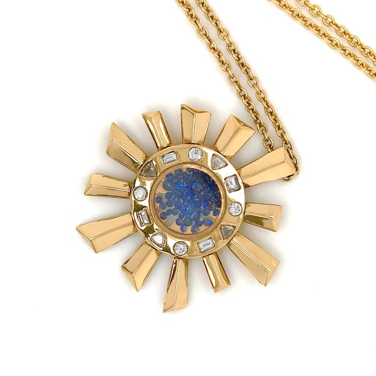 Sapphire and Diamonds Necklace on a Yellow Gold 18 Karat Pendant in Sun Shape For Sale 5