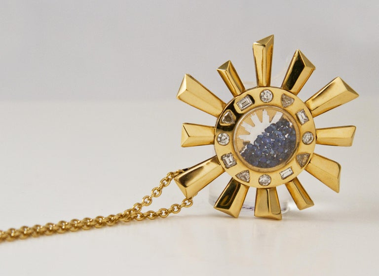 Artisan Sapphire and Diamonds Necklace on a Yellow Gold 18 Karat Pendant in Sun Shape For Sale