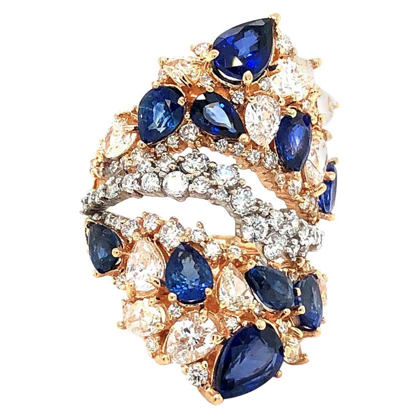 Sapphire and Diamonds Rose Gold Ring 18 Karat