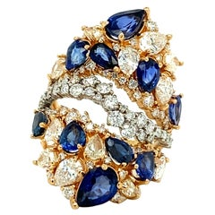 Sapphire and Diamonds Rose Gold Ring 18kt
