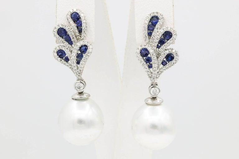 18K White Gold South Sea Pearl 12-13 mm Sapphire 0.90 Carats Diamonds 0.70 Carats