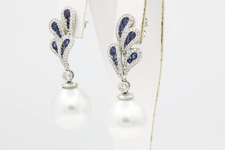 Round Cut Sapphire and Diamonds with Dangle South Sea Pearl Earrings For Sale