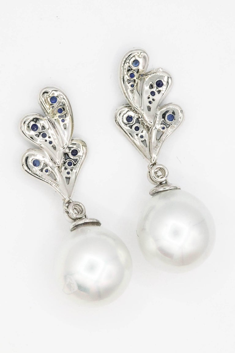 Women's Sapphire and Diamonds with Dangle South Sea Pearl Earrings For Sale