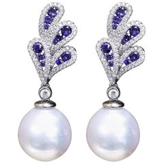 Sapphire and Diamonds with Dangle South Sea Pearl Earrings