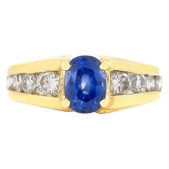 Sapphire and Diamonds Yellow Gold Ring