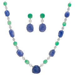 Sapphire and Emerald Carved Necklace and Earring with Diamonds and Moonstone