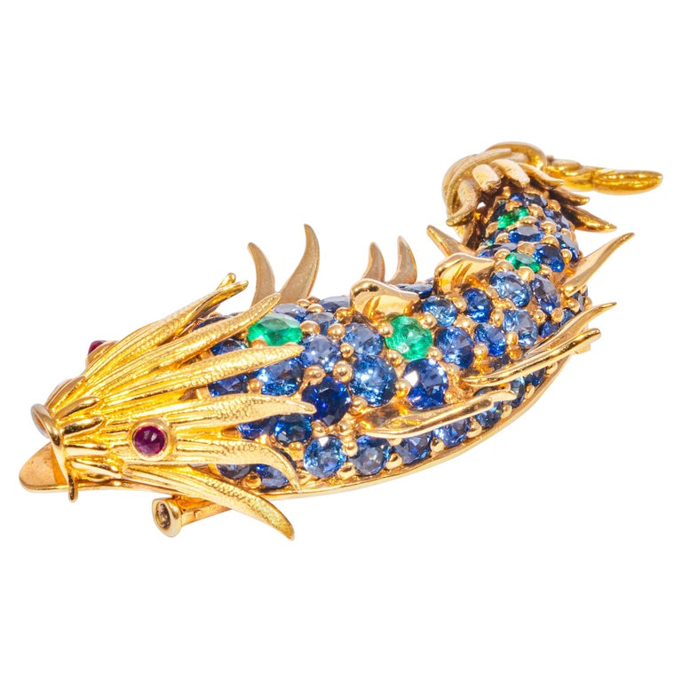 Sapphire and Emerald Fish Clip Brooch by Jean Schlumberger, Tiffany & Co. For Sale