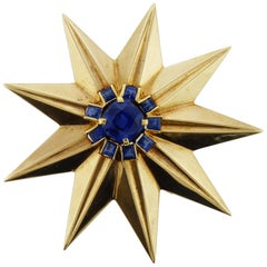 Sapphire and Gold Star Clip Brooch by Cartier