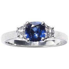Sapphire and Half Moon Diamond Platinum Ring