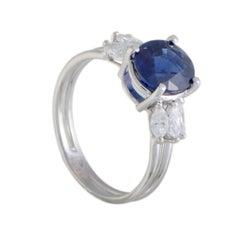 Sapphire and Marquise Diamond Platinum Ring