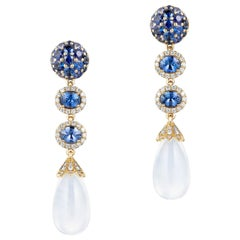 Goshwara Sapphire and Moon Quartz Drop With Diamond Earrings