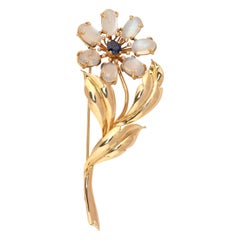 Sapphire and Moonstone Flower Brooch Tiffany & Co.