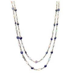 Sapphire and Opal Diamond by the Yard Necklace