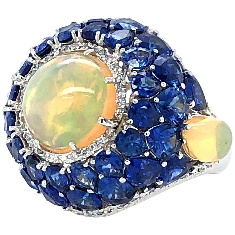 Sapphire and Opal Diamond Ring 18 Karat Gold For Sale