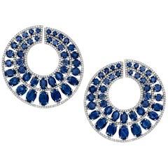 Sapphire and Pavé Diamond Circular Clip-On Earrings