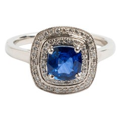 Sapphire and Pave Diamond Double Halo Ring, Hallmarked London 2013