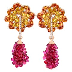 Sapphire and Pink Spinel Lotus Earrings by Margot McKinney