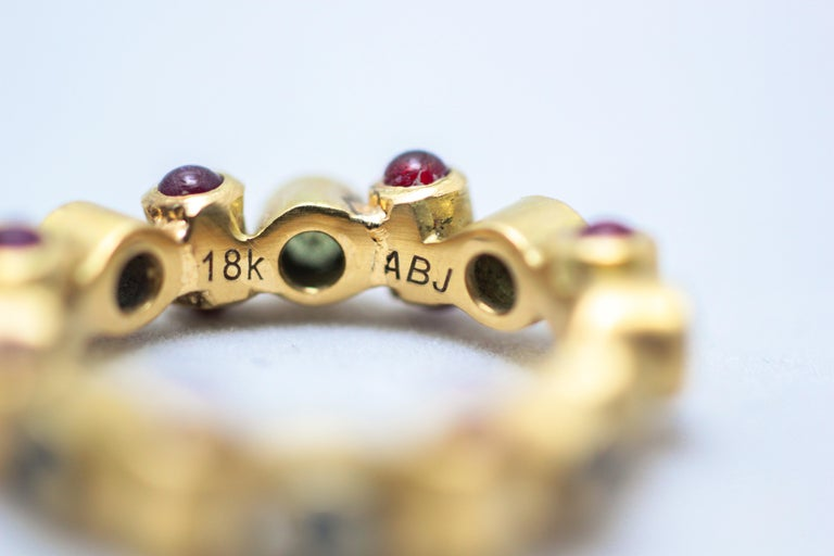 Sapphire and Ruby 18 Karat Gold Bridal Band Ring For Sale 1