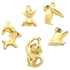 Sapphire and Ruby Yellow Gold Animal Charms