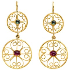 Sapphire and Ruby Yellow Gold Filigree Earrings