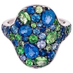 Sapphire and Tsavorite Original Pattern Ring, 3.12 Carat Organic Shape Ring