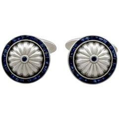 Sapphire and White Gold Cufflinks