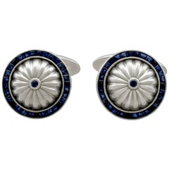 Sapphire and White Gold Cufflinks