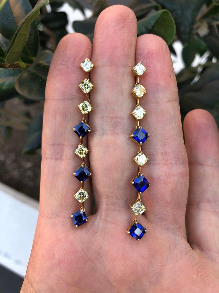 Modern Sapphire Asscher Cut Fancy Yellow Diamond Gold Earrings For Sale