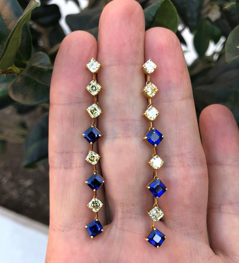 Sapphire Asscher Cut Fancy Yellow Diamond Gold Earrings at ...