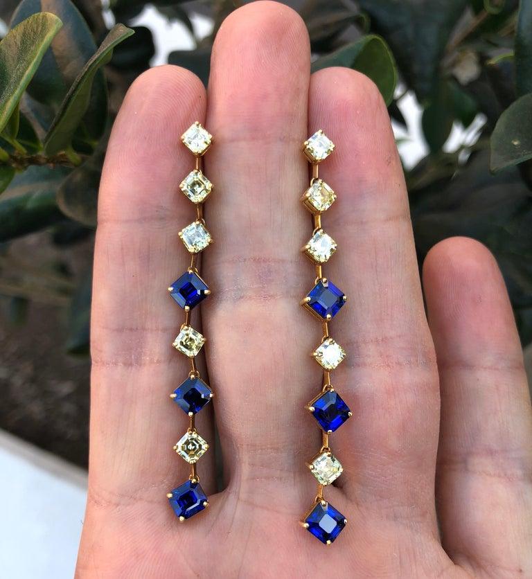 Women's Sapphire Asscher Cut Fancy Yellow Diamond Gold Earrings For Sale